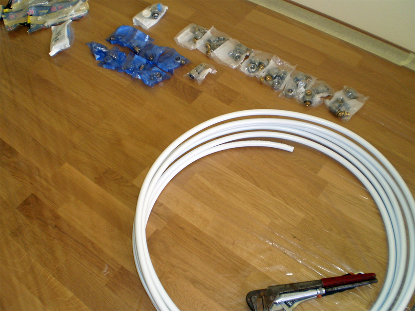 Preparation for the installation of pipes for heating